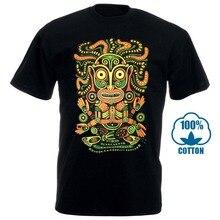 Idol Мужская футболка светящаяся УФ черная неоновая Psychedelic Art Goa Festival Trance 010369