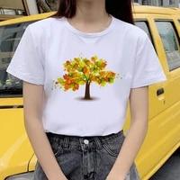 women cartoon printed harajuku tshirt 2021 women summer different leaves t shirt aesthetic streetclothing t shirt