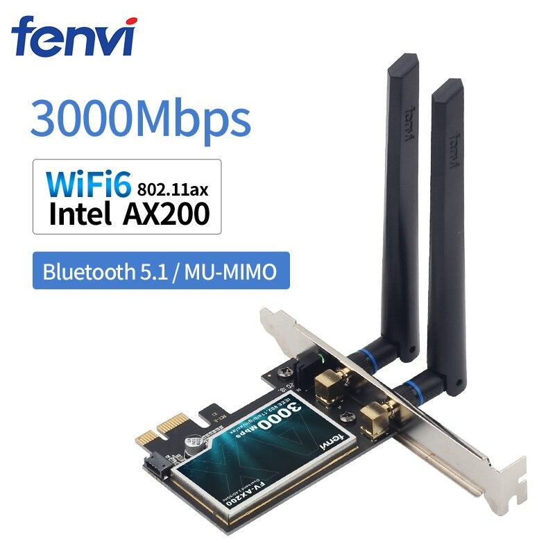 Cartão sem Fio Desktop Pcie Wifi Adaptador Intel Ax200 Bluetooth 5.0 802.11ax Banda Dupla 2.4g – 5ghz Pci Express Wifi6 3000mbps