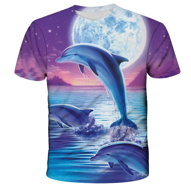 New summer childrens T-shirt cute dolphin print boys and girls fashion short-sleeved casual