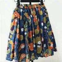 ashiofu custom made new womens summer dress cotton linen half length skirt pleated elegant floral elastic fashion dress skirts