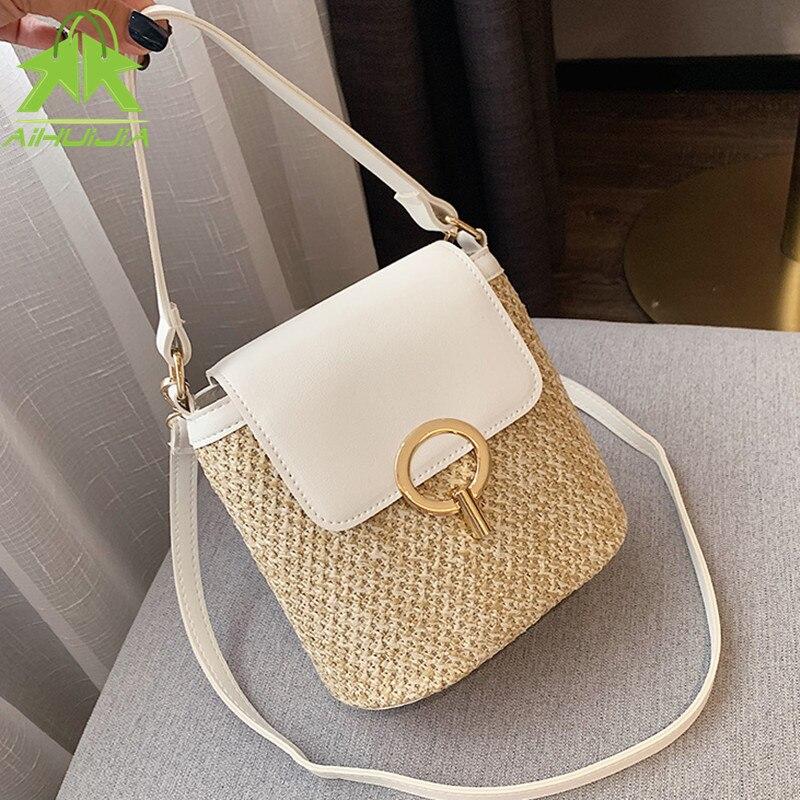 Fashion Straw Shoulder Messenger Bags Women's Designer Luxury Woven Bucket Bag 2021 New Summer Beach Straw Bag Female Handbag