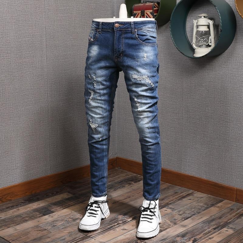 Винтажные модные мужские джинсы в европейском и американском стиле ретро темно-синие Эластичные зауженные рваные джинсы мужские брюки-кар...