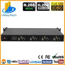 4 канала H.265 H.264 SD HD 3G SDI к IP потоку RTSP RTMP RTMPS кодировщик H.264 видео IPTV SDI прямая трансляция RTMP кодировщик сервер