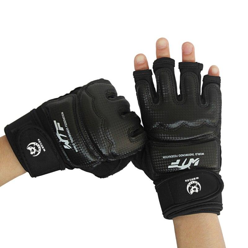 Guantes de boxeo de medio Dedo de Wansda Kickboxing Karate Muay Thai entrenamiento MMA amortiguador absorber la protección de la mano