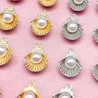 10pcslot gold silver metal shell pearl charms pendant diy jewelry making shell earring jewelry accessories diy earring handmade