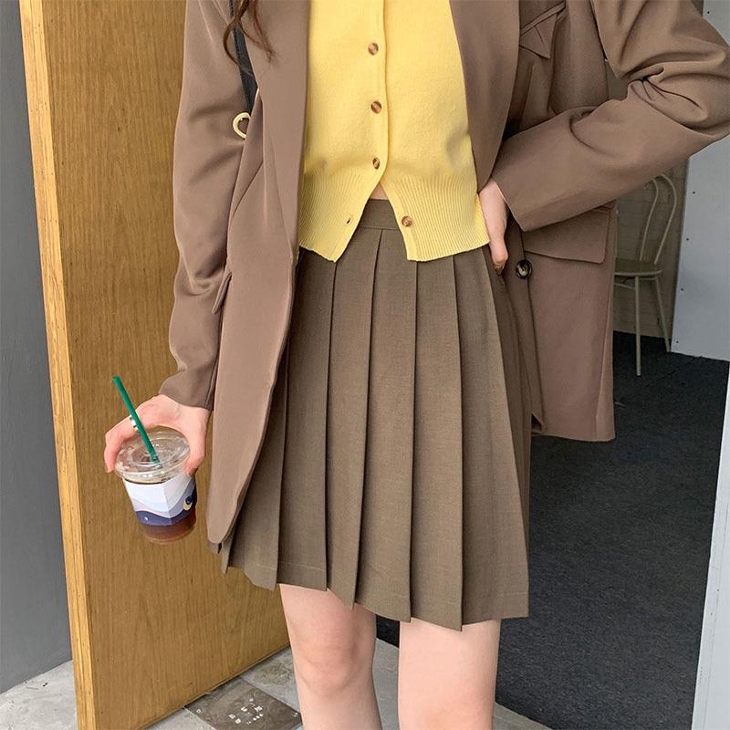 Autumn Korean 2021 Skirt New High Waist Thin Solid Color Student Versatile Casual Pleated Skirt Shor