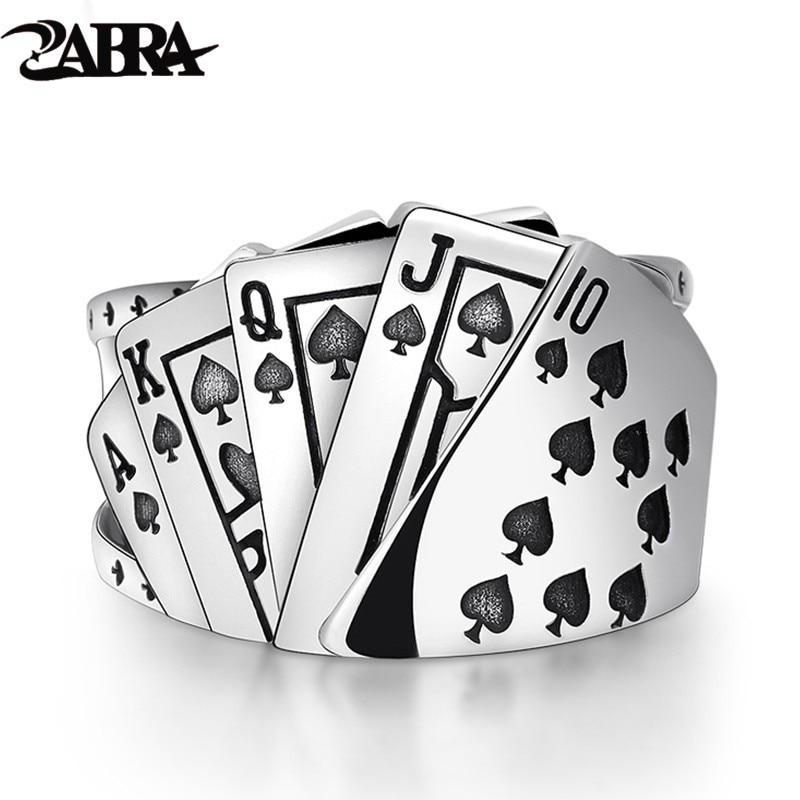 ZABRA Poker anillo de plata maciza 925 anillos punk rock para hombres mujeres negro sello joyería ajustable tamaño de 7 a 10 puede personalizar tamaño