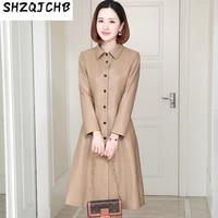 shzq 2021 autumn new leather fur womens wear medium and long windbreaker coat lapel slim fit korean fur coat