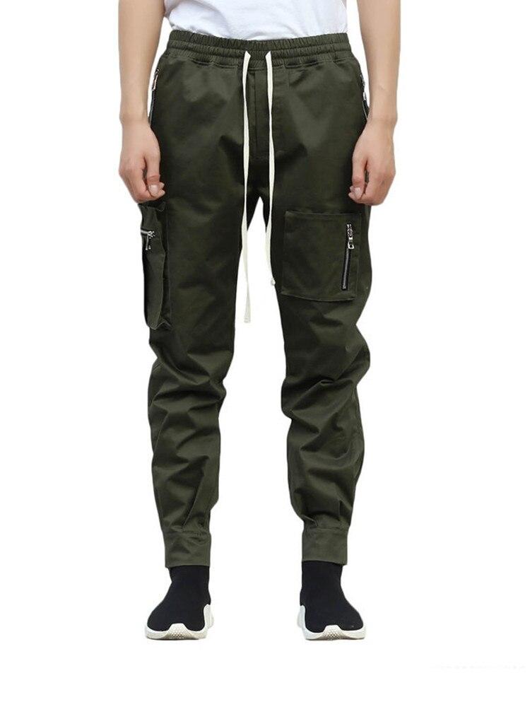 ¡Nuevo estilo! Pantalones de chándal holgados de marca para hombre, edición Han, pantalones de Harem juveniles ins, cuerda de pie con cremallera para hombre, pantalones con bolsillos