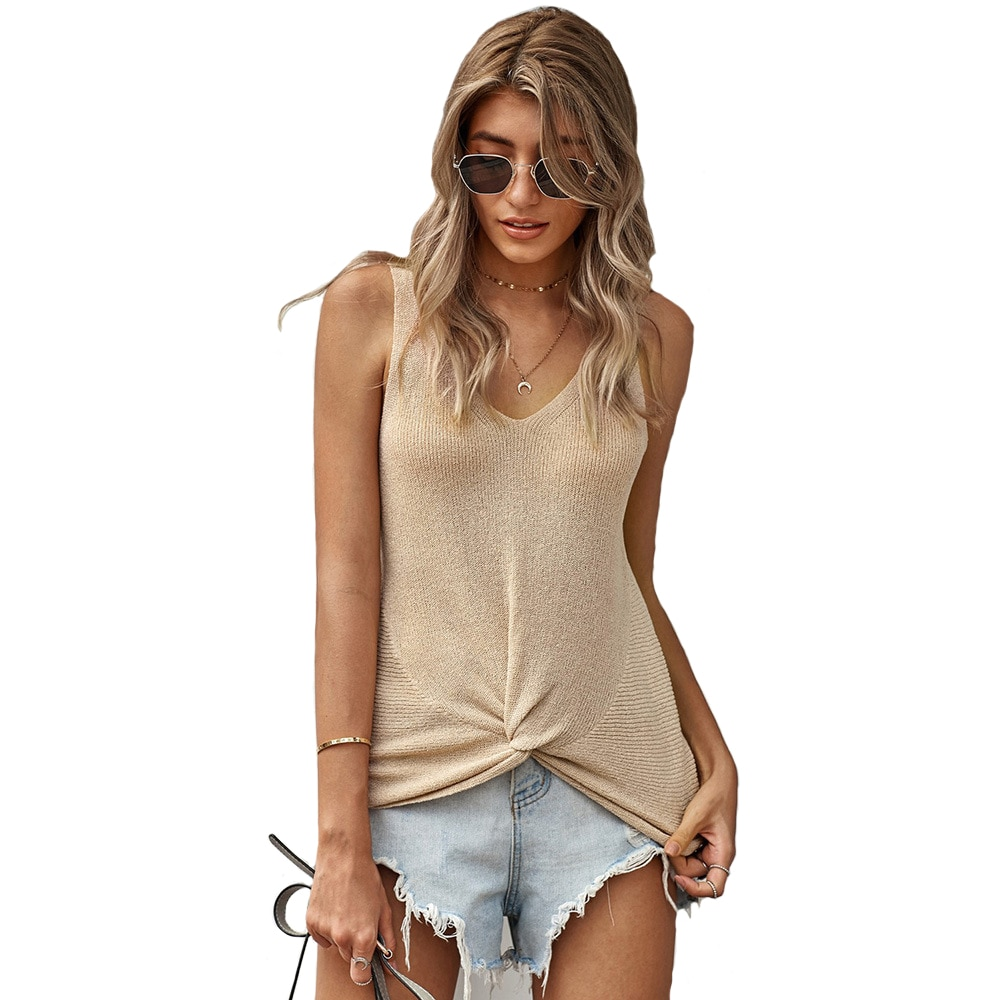 feelycc Casual Tank Top Women White Off Shoulder Knitted Tops Stretchy Solid 2020 Summer Sexy Top new ins sexy off shoulder copper buckle knitted off shoulder top
