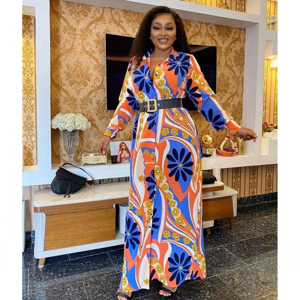 L-2XL فستان طويل الأكمام الأفريقية زر قميص تنورة طباعة تمتد مزاجه ثوب الصيف 2021 المرأة فساتين راقية فستان حفلة