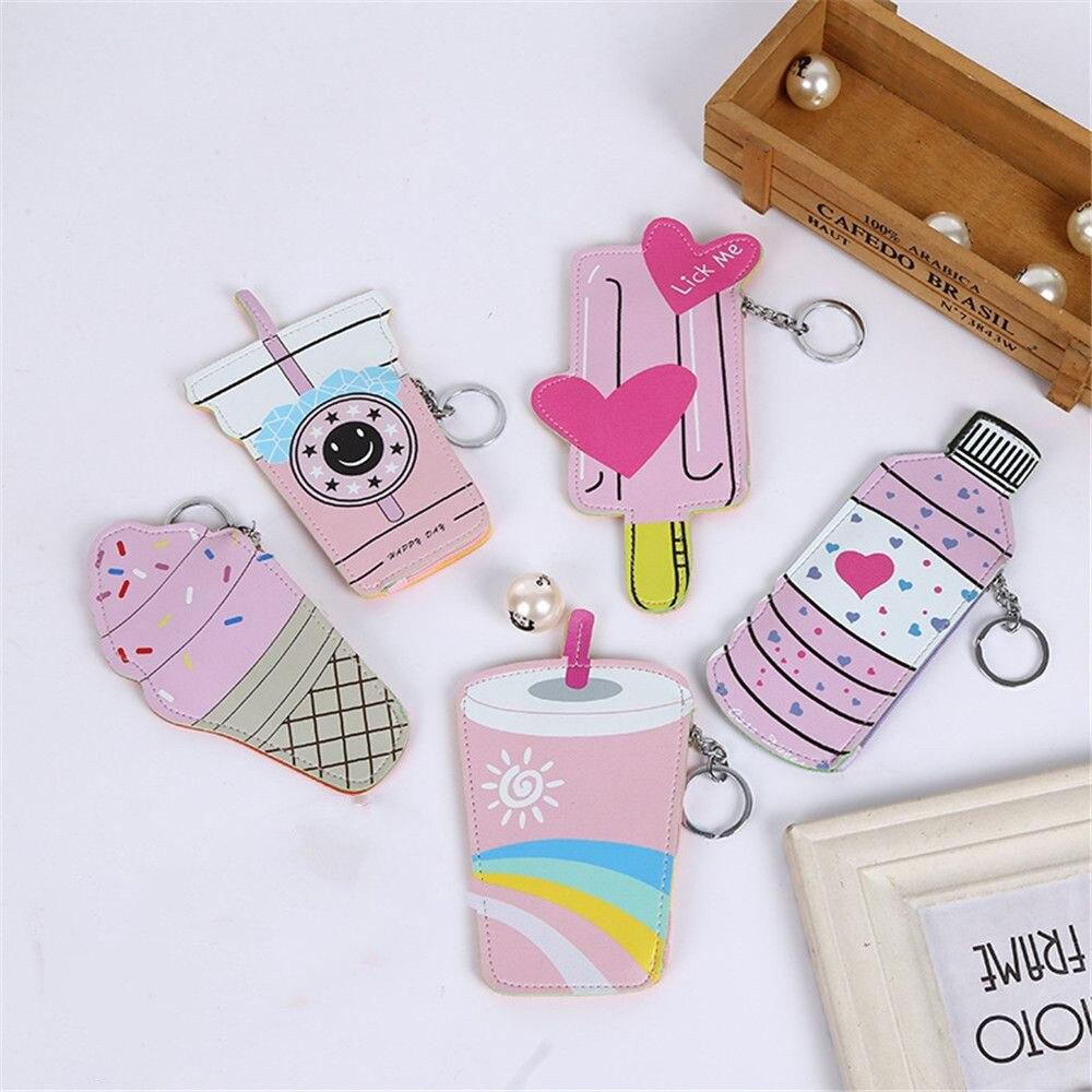Nuevo estilo Lolita Kawaii monedero de cuero de PU cuadrado botella Linda bebida helado patrón moneda dinero carteras y soportes 1 pieza