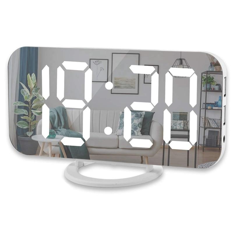 Digitale Wecker, 6 zoll Große Led-anzeige Mit Dual Usb Ladegerät Ports Auto Dimmer Modus Einfach Snooze Funktion, Moderne Spiegel De