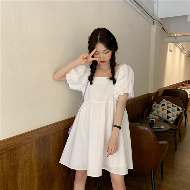2020 summer new women's small fresh square collar bubble sleeve dress loose big swing short  short  women