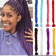 Extensions de cheveux synthétiques Jumbo Crochet   Cheveux longs, Jumbo, tresses au Crochet, roses, noires, violettes, 82 pouces 165g