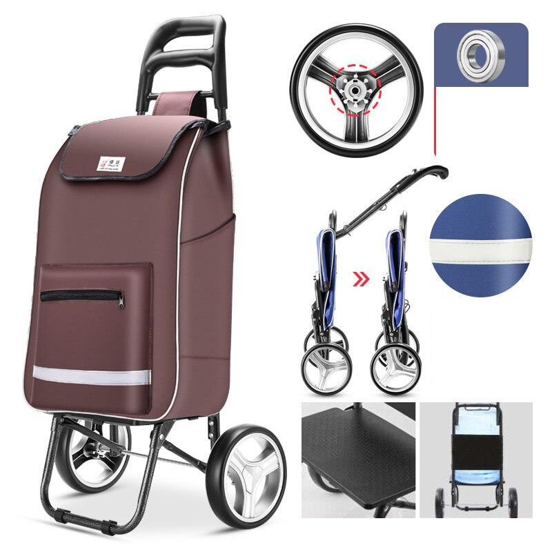 Carrito de ancianos escaleras de carrito de compras sobre ruedas mujer cesta de compras grandes bolsas de compras carro remolque plegable