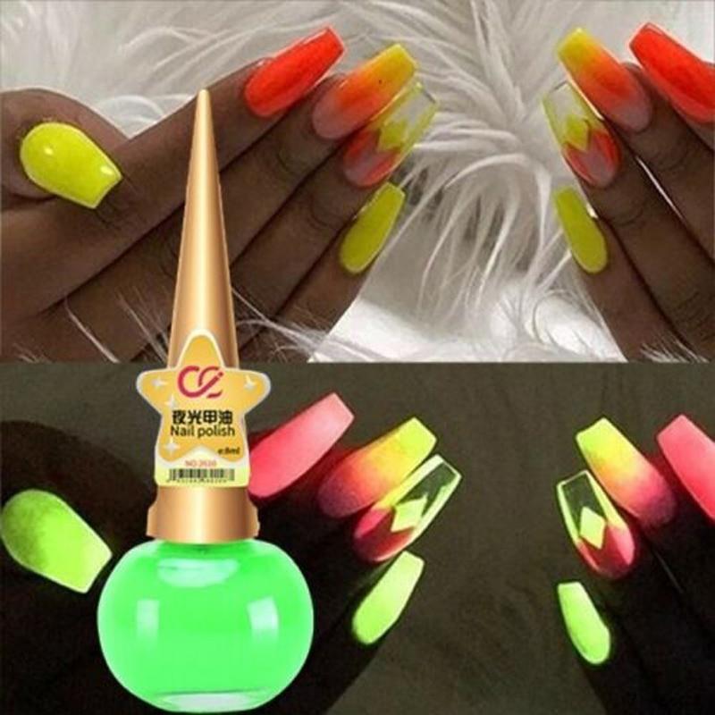 Esmalte de uñas fluorescente mate brillante, esmalte de uñas luminoso, arte de manicura de uñas Deco brillante