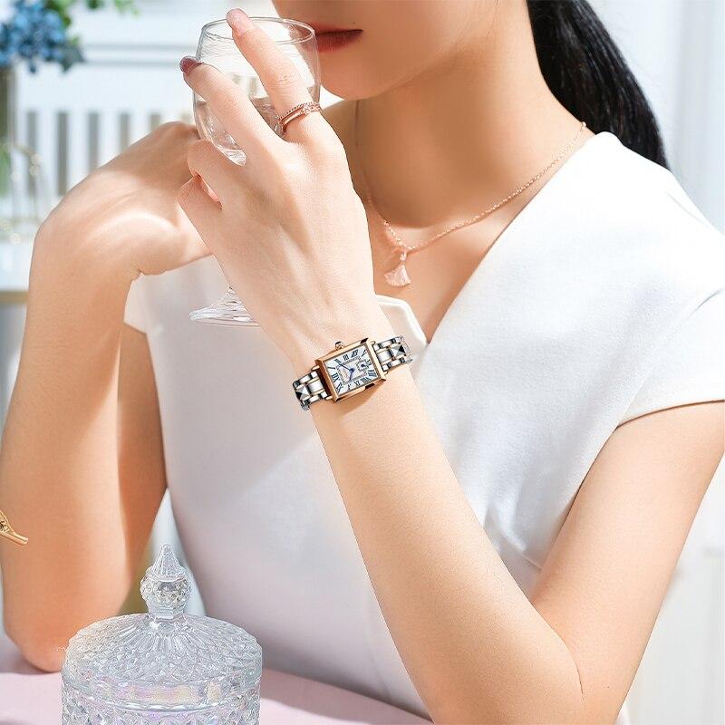 2021 LIGE Brand SUNKTA Women Watches Fashion Square Ladies Quartz Watch Bracelet Set Dial Simple Rose Gold Luxury Women Watches enlarge