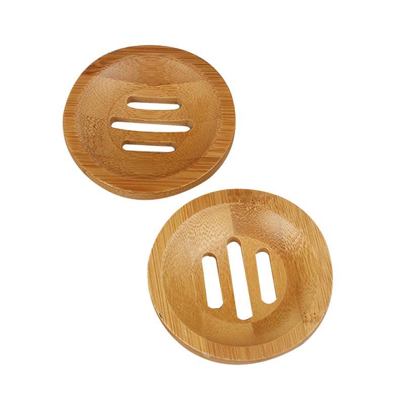 2 pçs sabonetes de bambu redondo oco caixa de sabão recipiente saboneteira para rack de armazenamento do banheiro