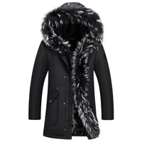 2020 new long casual coat for winter for men thick warm parka big fur hooded men