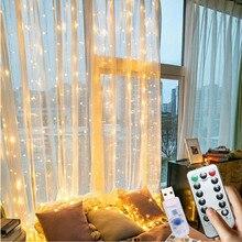 300 LED fée lumières pour la maison rideau 3M chaîne guirlande lampe USB télécommande nouvel an noël chambre fenêtre décoration