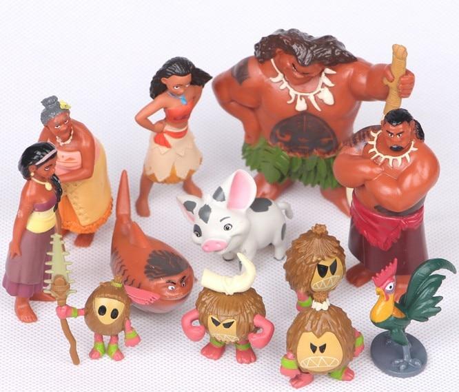 12 unids/set película Moana figuras de acción de juguete de Moana Pricncess Maui cerdo Kakamora Heihei la abuela de PVC modelos Anime Juguetes