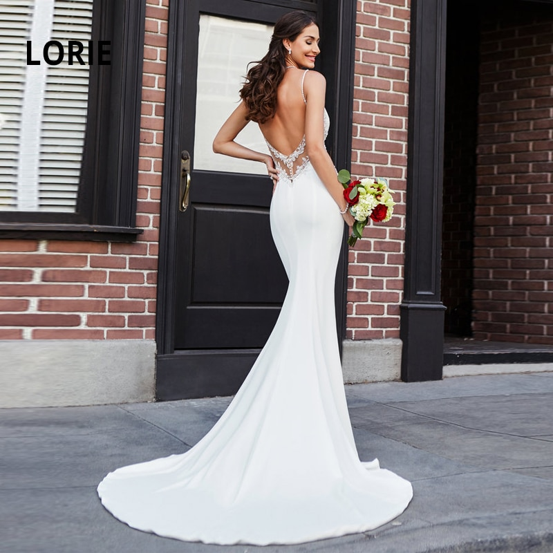 LORIE  Mermaid Wedding Dresses Lace Appliques with Beading Bride Dress Sexy Backless Gowns Soft Satin