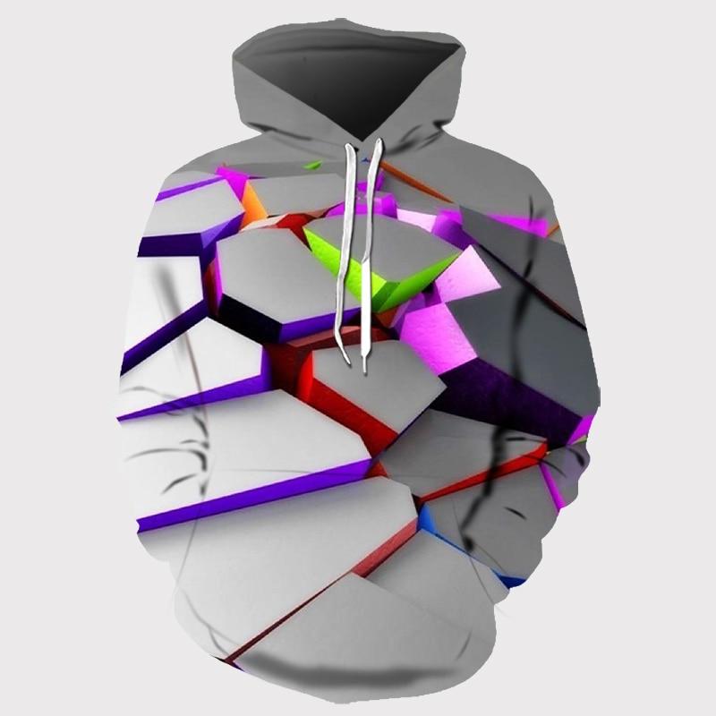 2020 Men/women 3d Hoodie Pullover Printed Color Block Autumn/winter Sweatshirt Fashion Mens Hooded Jacket Top