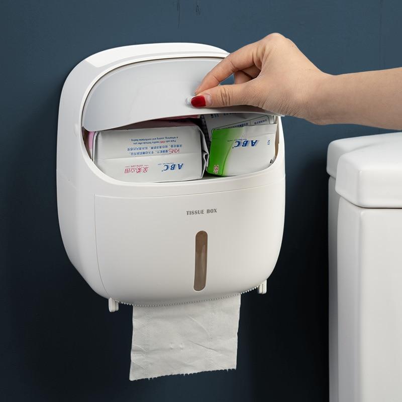 New Portable Toilet Paper Holder Bathroom Accessories Double Layer Shelf Plastic Tissue Dispenser Home Kitchen Organizer Box