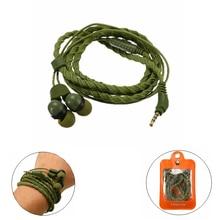 Модная Проводная гарнитура 3,5 мм, наушники с плетеным браслетом, гарнитура с микрофоном, портативные армейские спортивные наушники зеленого цвета для смартфона
