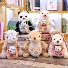 Bonne qualité assis mère et bébé Panda Pangolin hérisson ours polaire en peluche jouets en peluche doux animaux poupées enfants jouets
