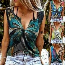 Women Casual Vest Tops Summer Butterfly Flora Print V Neck T-Shirt Sexy Loose Sleeveless Blouse Shir