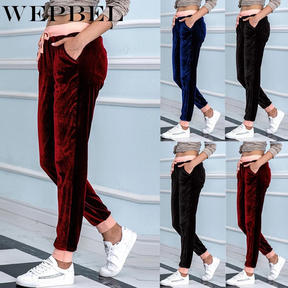 WEPBEL Women's Casual High Waist Lace-up Pleuche Harem Pants Spring and Autumn Fashion Solid Color S