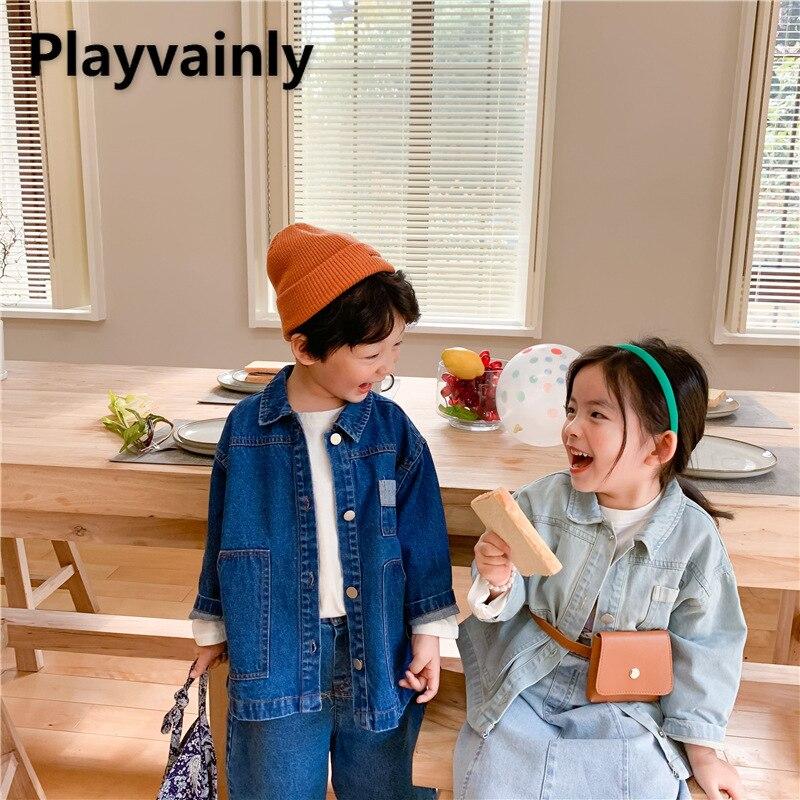2021 Spring Boys Girls Jackets Baby Coats Blue Denim Long Sleeve Casual Kids Jackets for Kids Clothe