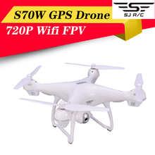 SJRC S70W GPS Дрон с Wifi FPV 720P широкоугольная HD камера удержание высоты G-сенсор Follow Me возврат домой RC Квадрокоптер