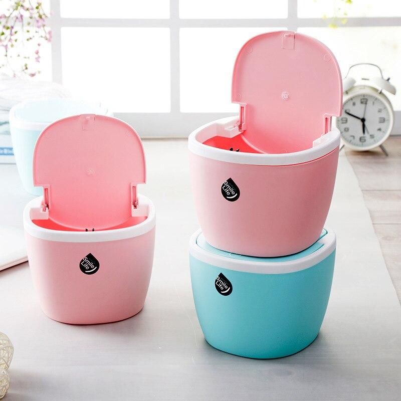 Mini Waste Bin Desktop Home Plastic Roller Cover Garbage Basket Table Trash Can Swing Office Rubbish Bag Holder Table Bucket enlarge