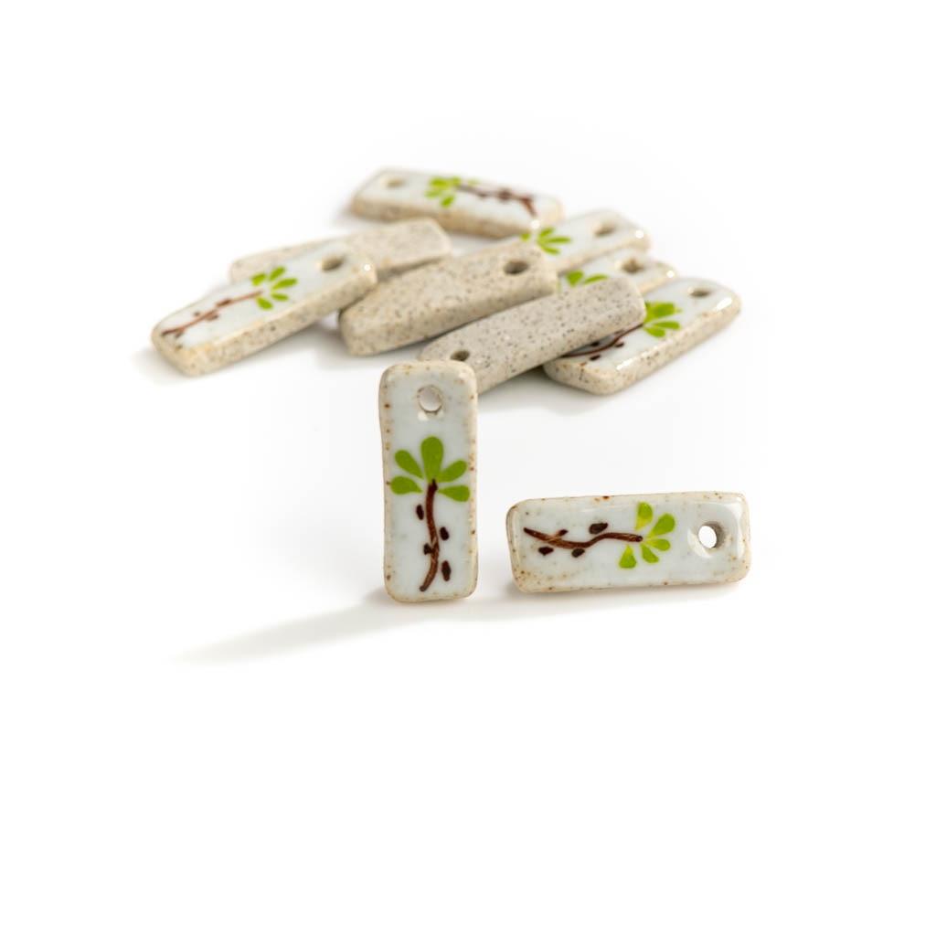 26#5pcs Hand Painted Plant Florets Porcelain Animal Small Ceramic Pendants Small Bag Beads DIY Jewel