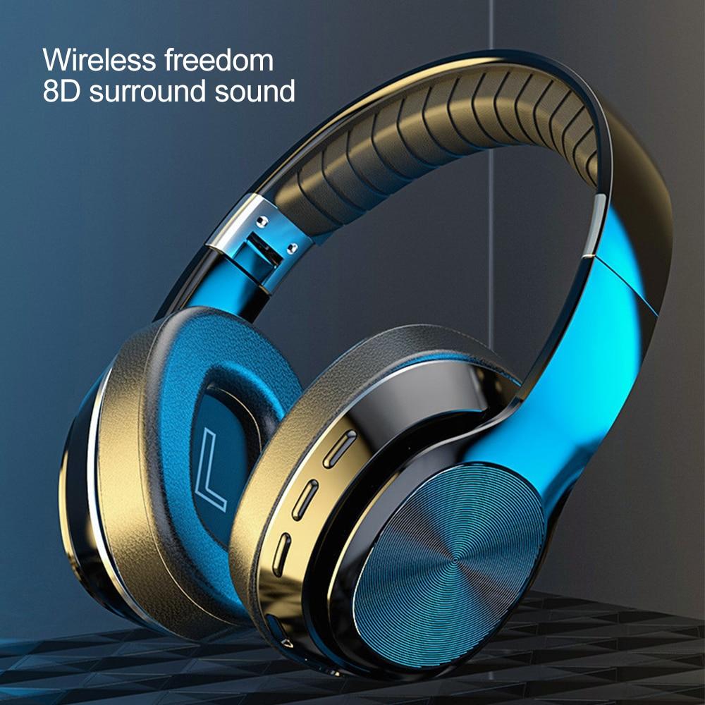 Auriculares inalámbricos de alta fidelidad plegables con Bluetooth cascos estéreo con micrófono y graves profundos compatible con tarjeta T