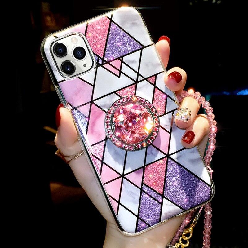 Роскошная обувь с украшением в виде кристаллов мраморный телефонный чехол для iPhone 12 Pro Max Мини 11 11Pro SE 2020 XR XS Max X 7 8 Plus чехол кольцо-держатель на палец для мобильного