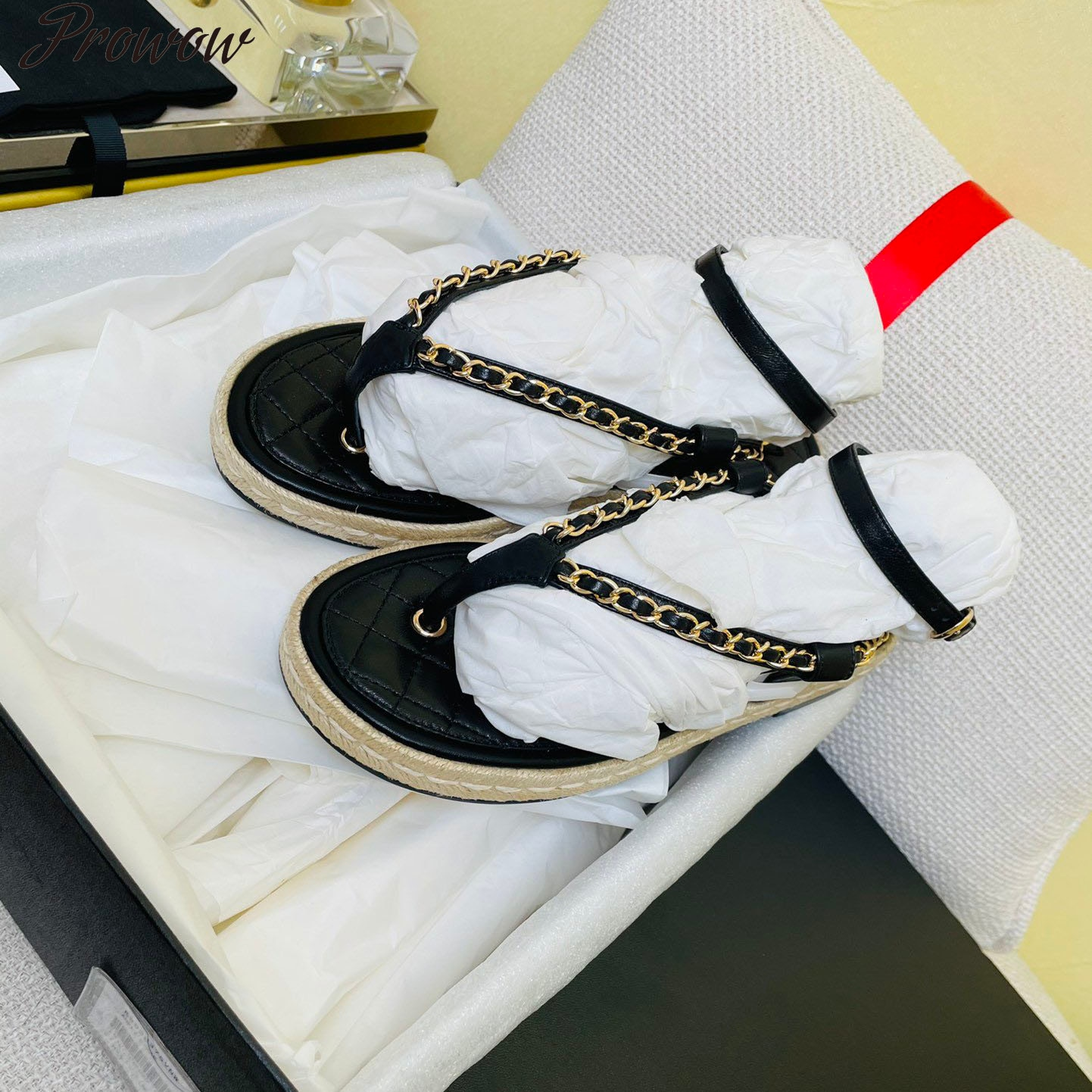 Prowow Women Sandals Fisherman Shoes Chain Decor Women Shoes Genuine Leather Flip-Flop Sandals Ankle Strap Sandals For Women