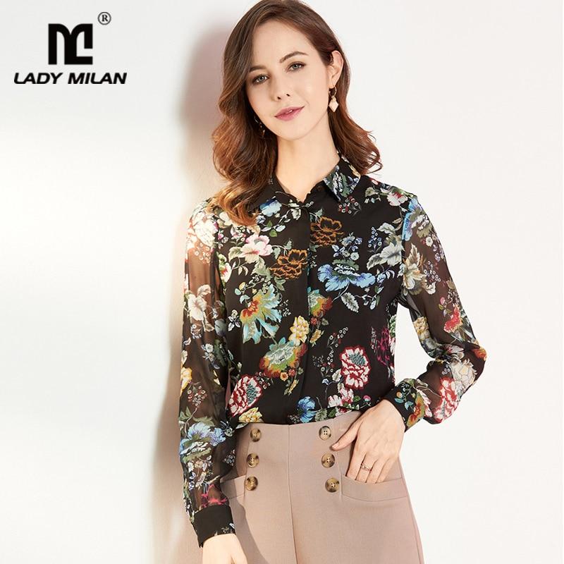 Lady Milan 100% Silk Women's Runway Shirts Turn Down Collar Long Sleeves Printed Shirts Fashion Blouse Tops