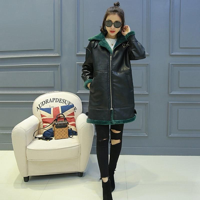 Autumn and winter Korean ladies fur one mid-length plus velvet thick sheepskin shearing thin leather jacket enlarge