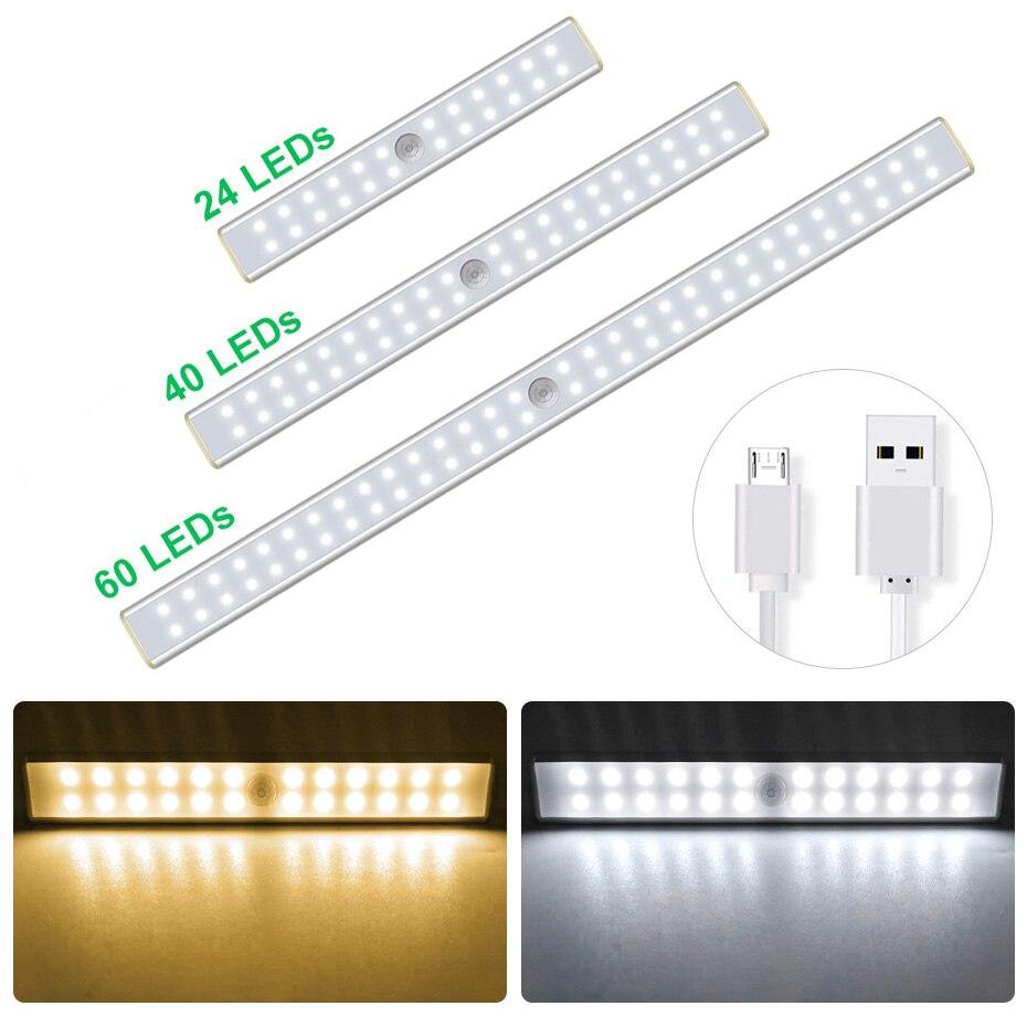 24 40 60 LED Wireless Under Cabinet Lighting Motion Sensor Led Light for Bedroom Closet Kitchen USB Rechargeable LED Wall Lights