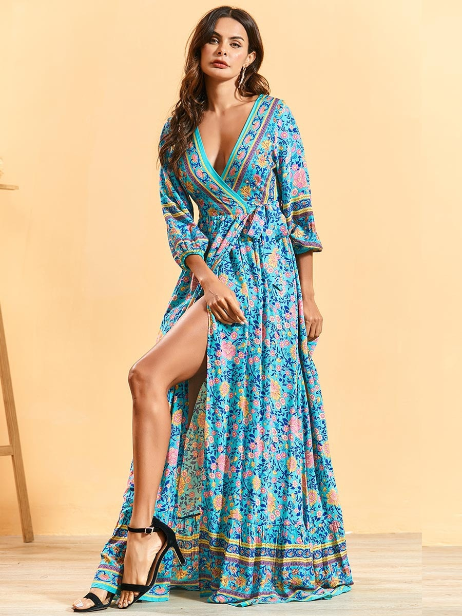 Siskakia Bohemian Long Dress Deep V Neck Lace Up Slim Waist Maxi Dress Sexy Split Beach Holiday Clothing Spring Summer 2020 New Aliexpress