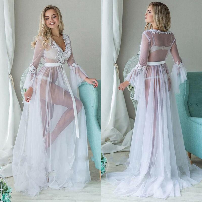 Ropa interior Sexy Babydoll ropa interior Mujer encaje transparente vestido largo ropa de dormir camisón de encaje Lencería pijamas 2020 más nuevo
