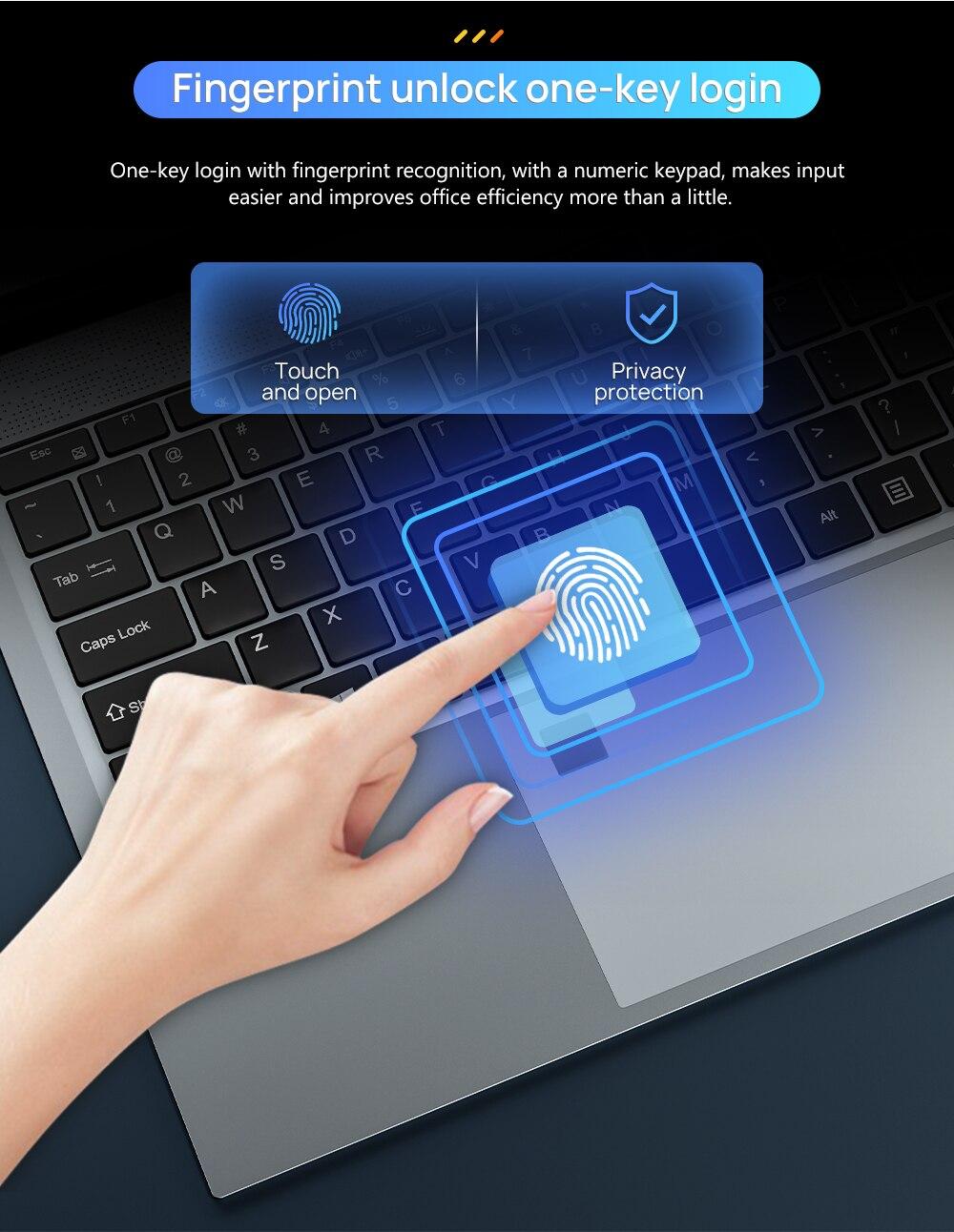 15.6 Inch 10th Gen Intel Core i5-1035G4  Laptop 16GB RAM 512GB SSD Windows 10 Backlit Keyboad Type-C Fingerprint Unlock Computer enlarge