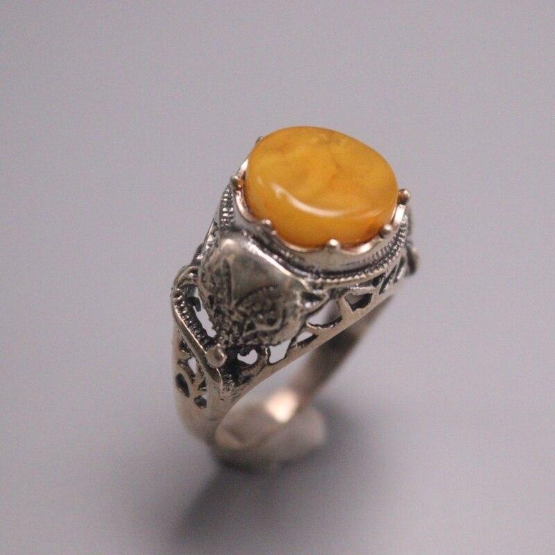 الصلبة S925 خاتم فضة النساء الحظ الأصفر شمع العسل الثعلب حلقة 14mmW US6-8 أفضل هدية