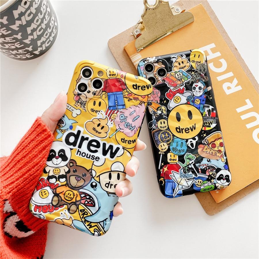 Para o iphone 11 pro max diamante justin maré marca drew casa moda caso de telefone macio para o iphone 7plus 8plus x xr xs max capa