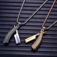 new retro haircut razor shape pendant necklace for men fashion metal sliding pendant chains accessories jewelry 2021 jewelry